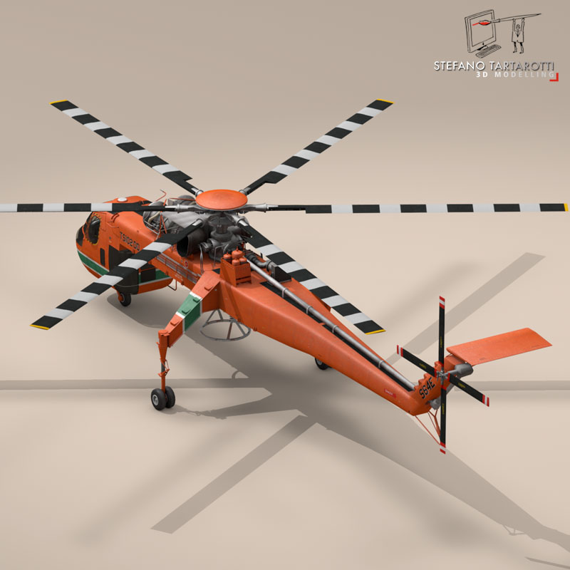 s 64e skycrane 3d model 3ds dxf fbx c4d obj 150696
