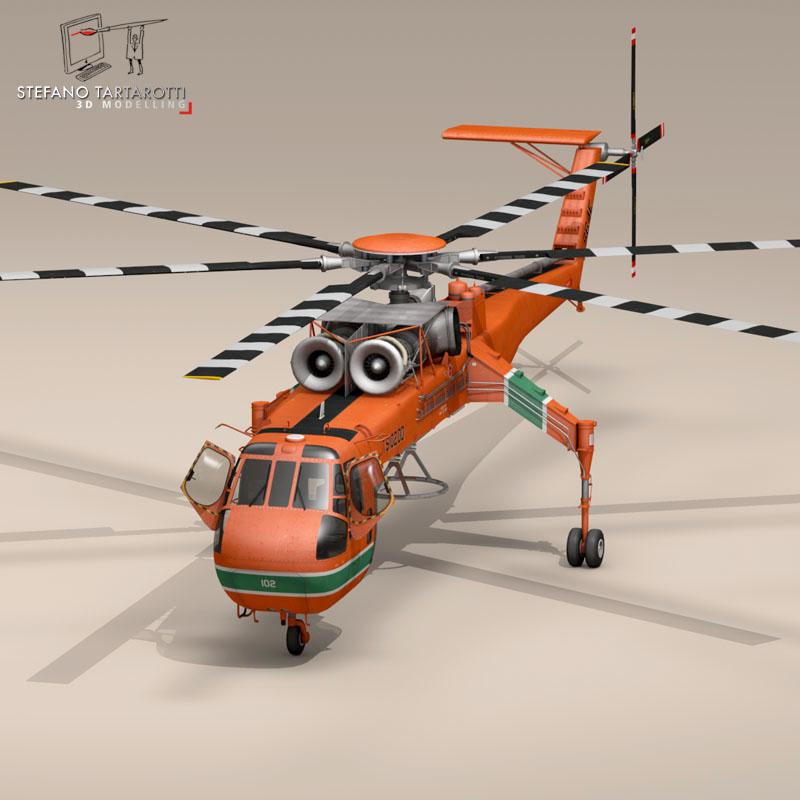 s 64e skycrane 3d model 3ds dxf fbx c4d obj 150697