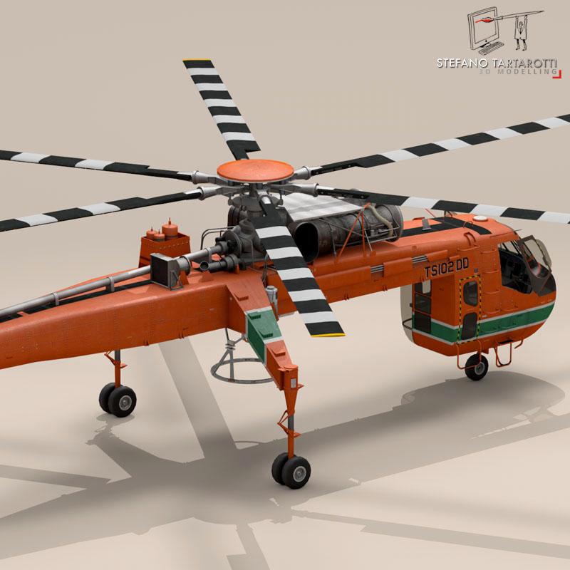 s 64e skycrane 3d model 3ds dxf fbx c4d obj 150698