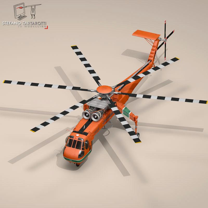 s 64e skycrane 3d model 3ds dxf fbx c4d obj 150700