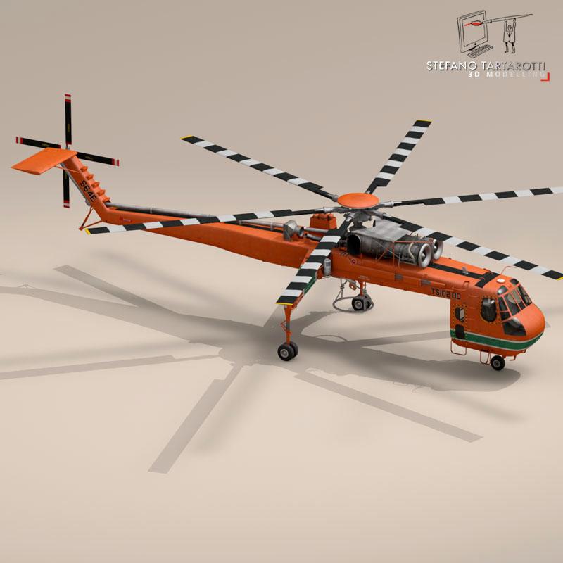 s 64e skycrane 3d model 3ds dxf fbx c4d obj 150702