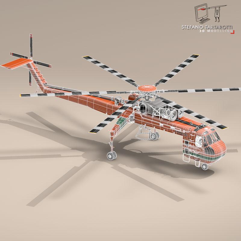 s 64e skycrane 3d model 3ds dxf fbx c4d obj 150703