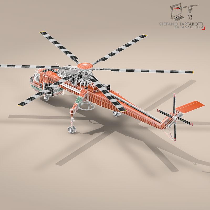 s 64e skycrane 3d model 3ds dxf fbx c4d obj 150704
