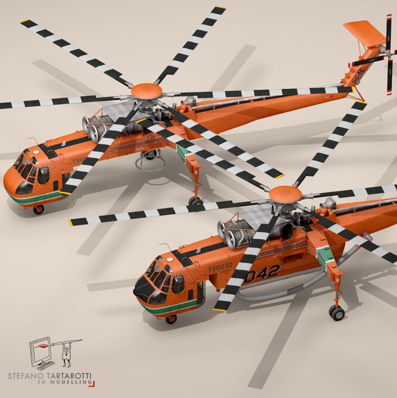 s64f and s64e skycrane 3d model 3ds dxf fbx c4d dae obj 150707