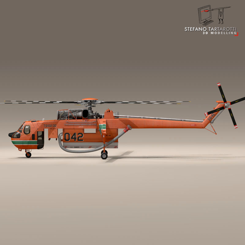 s64f and s64e skycrane 3d model 3ds dxf fbx c4d dae obj 150710