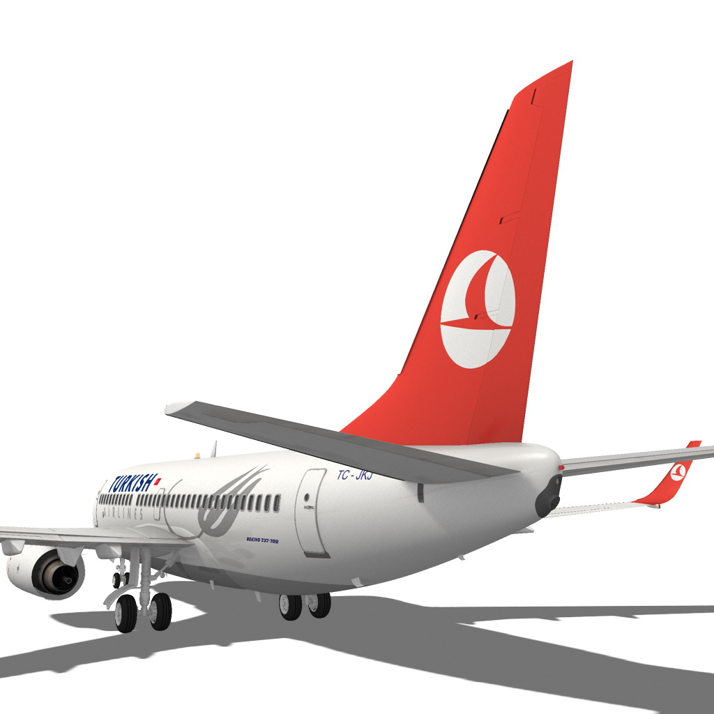 turkish airlines boeing 737-700w 3d model max fbx c4d ma mb obj 120282