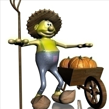farmer cartoon rigged 3d model 3ds max fbx lwo obj 108158