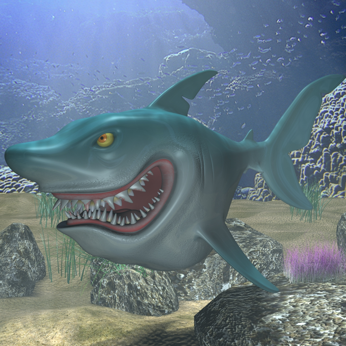 crtani film shark opremljen 3d model 3ds max fbx obj 159702