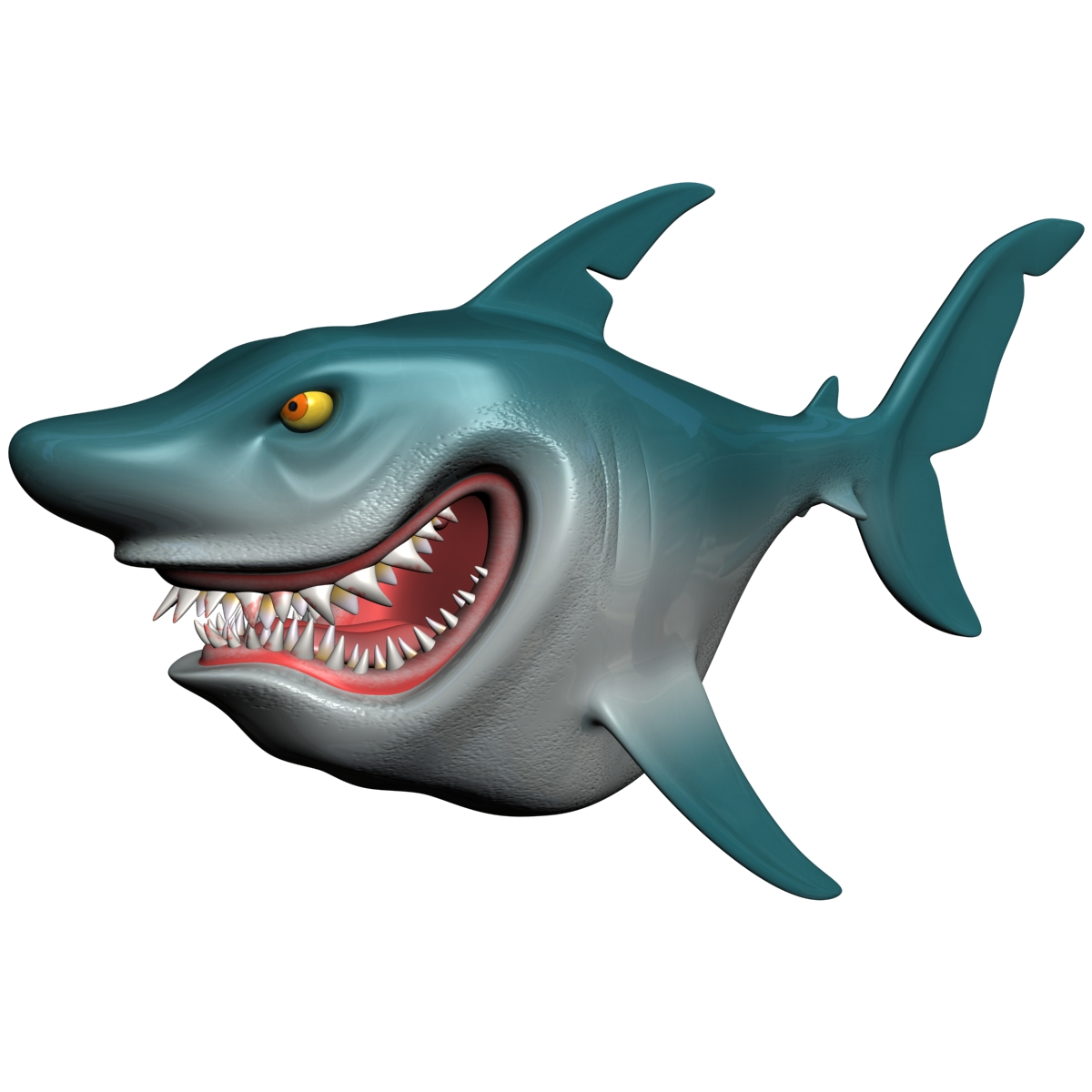 cartoon shark rigged 3d model 3ds max fbx obj 159703
