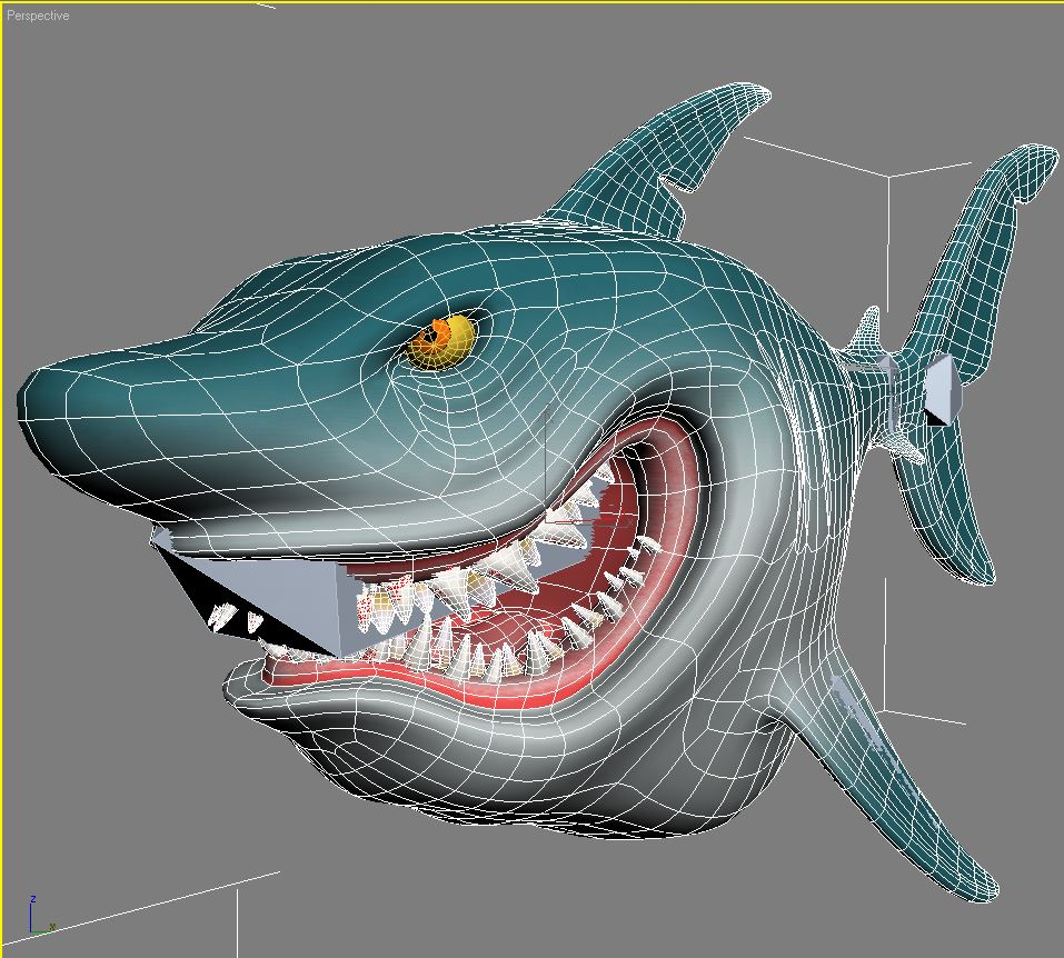 cartoon shark rigged 3d model 3ds max fbx obj 159709