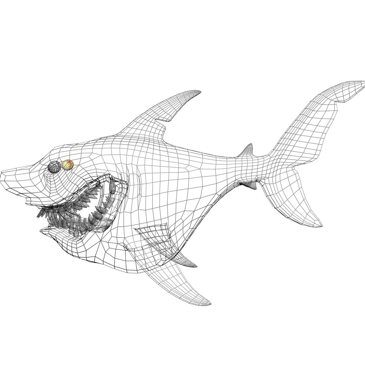 cartoon shark rigged 3d model 3ds max fbx obj 159710
