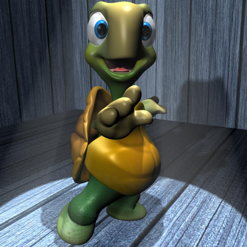 cartoon turtle rigged 3d model 3ds max fbx obj 157339
