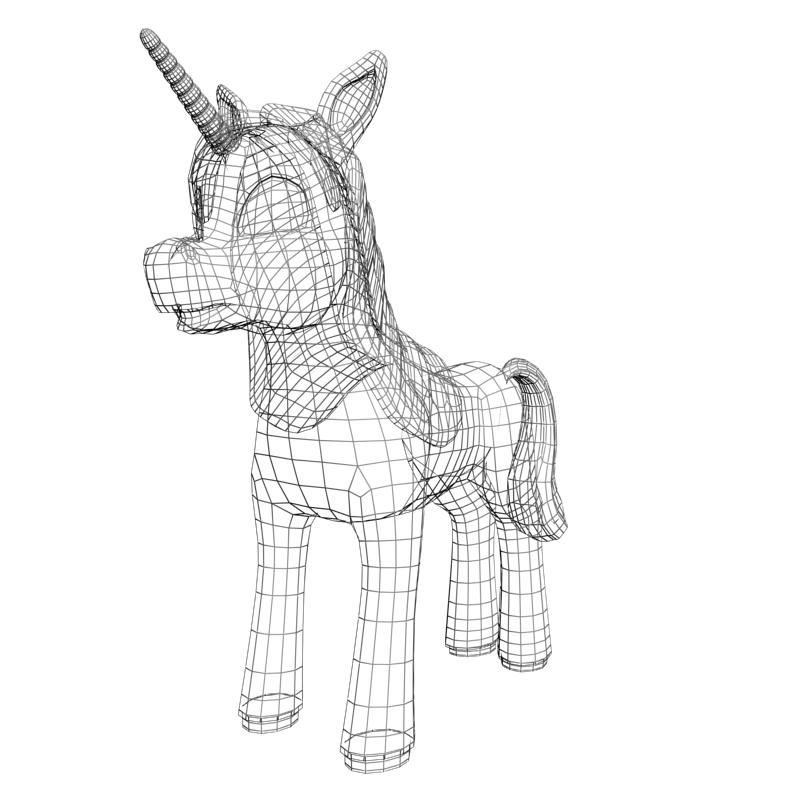 cartoon unicorn rigged 3d model 3ds max fbx lwo obj 148443