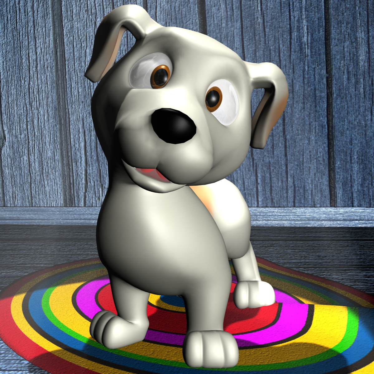 cartoon dog rigged 3d model flatpyramid