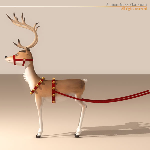 santa reindeer cartoon 3d model 3ds max dxf fbx c4d dae ma mb obj 121208