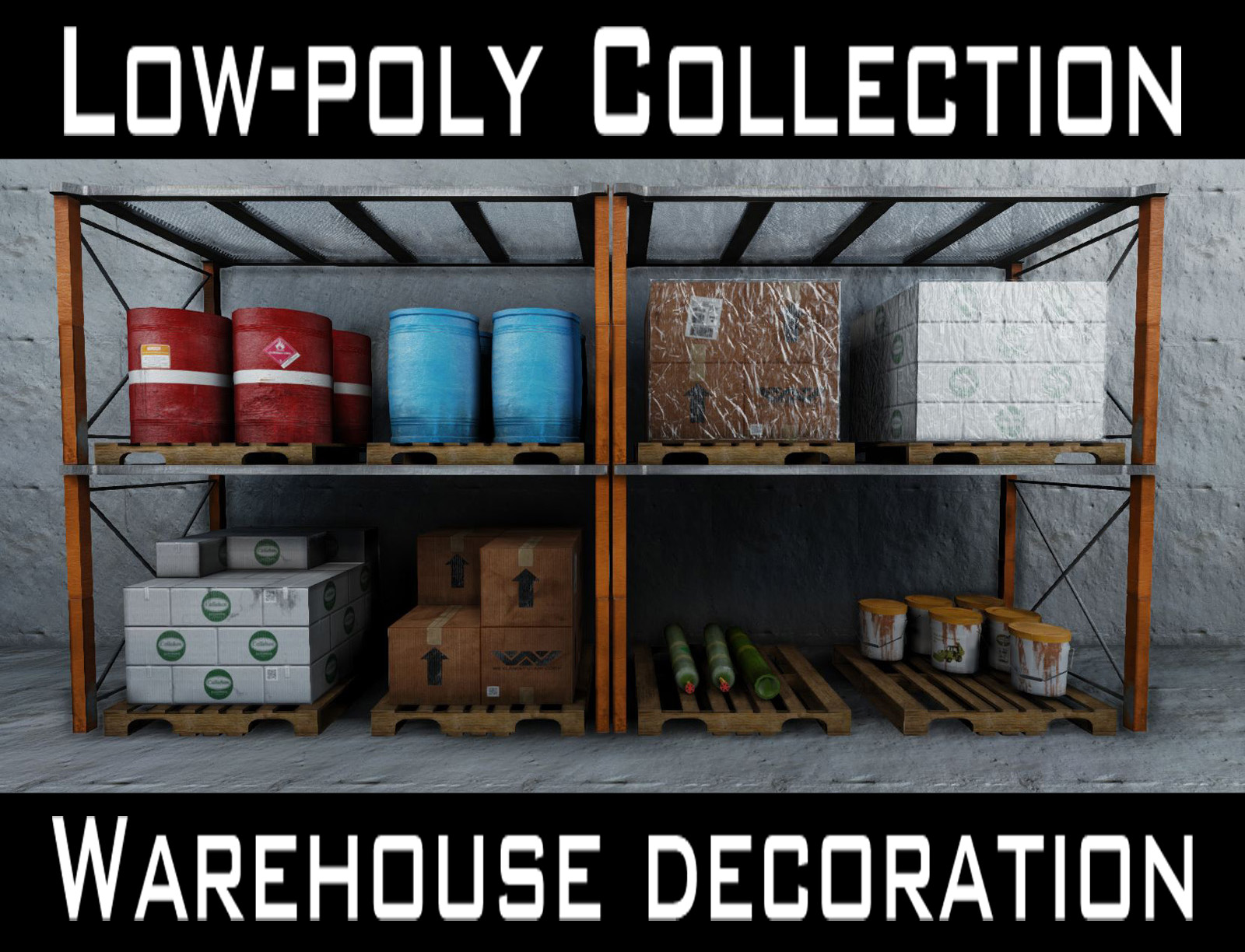 low-poly warehouse decoration set 3d model fbx 150985