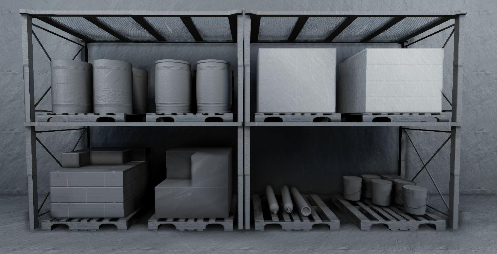 low-poly warehouse decoration set 3d model fbx 150986