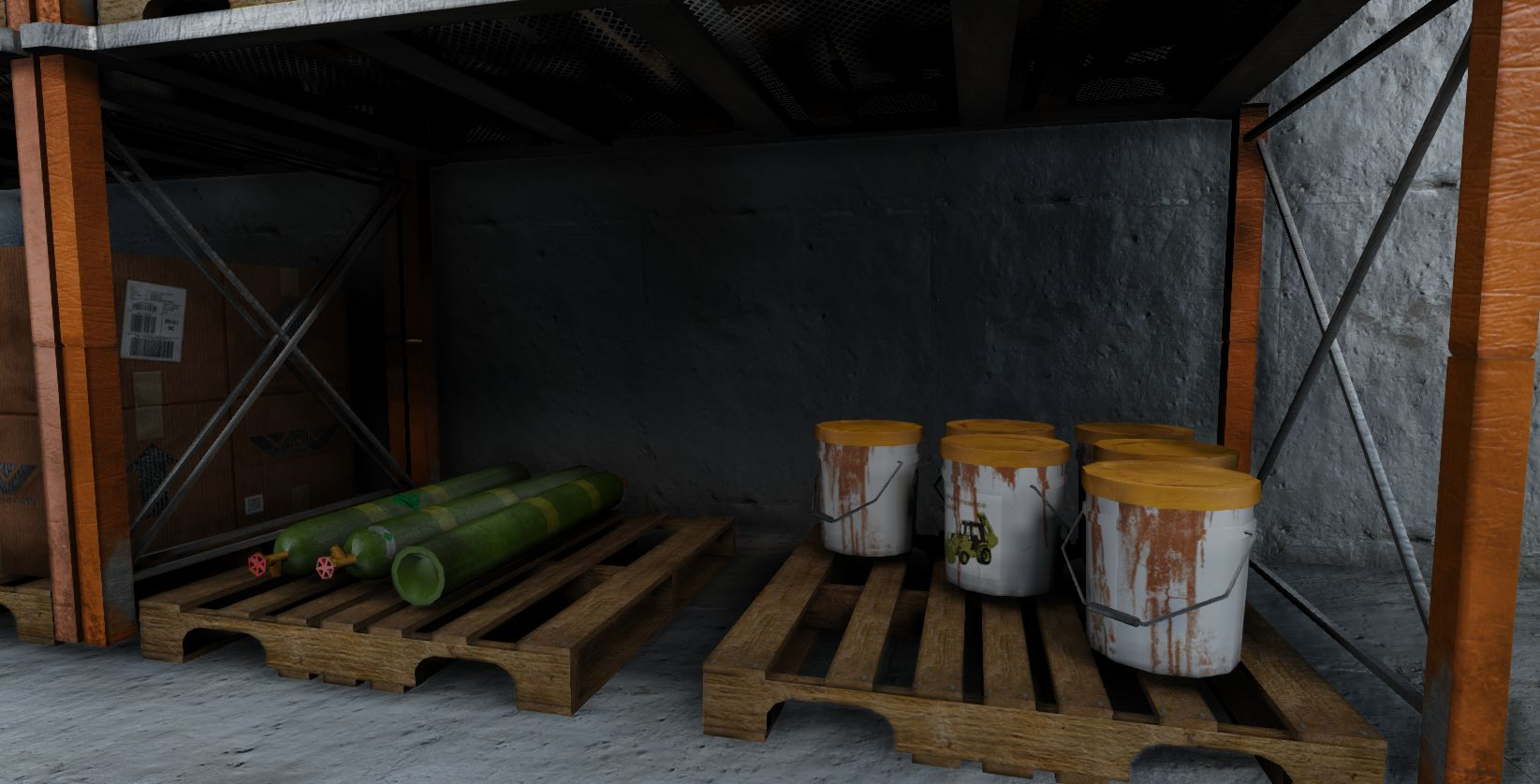 low-poly warehouse decoration set 3d model fbx 150987