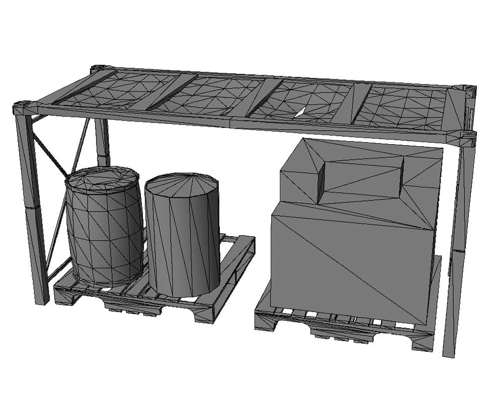 low-poly warehouse decoration set 3d model fbx 150991