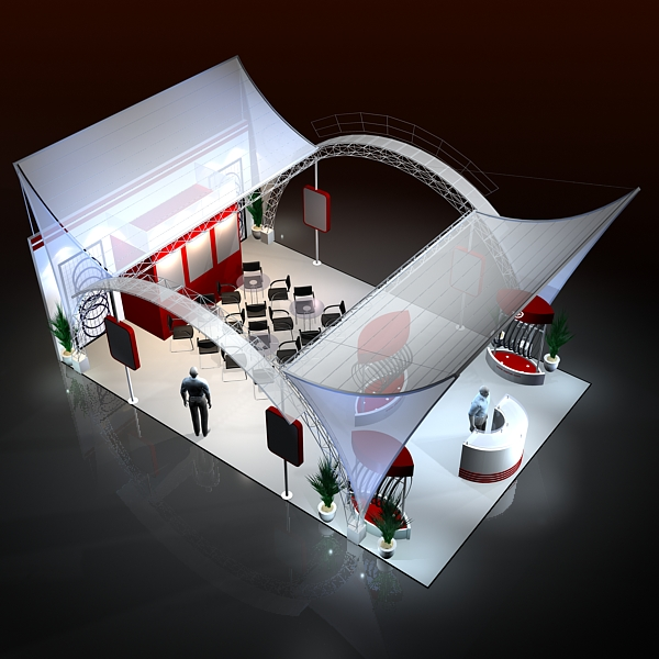 Exhibitor Booth Layout : Exhibit booth design d model buy
