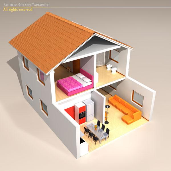 house cutaway two floor 3d model 3ds dxf c4d obj 116993