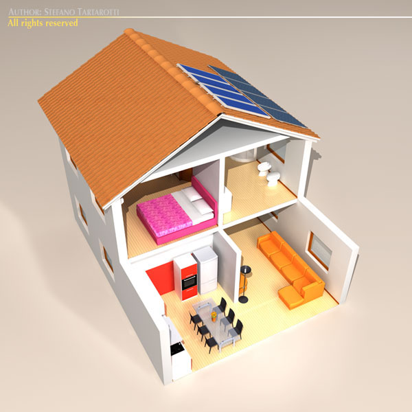 house cutaway two floor 3d model 3ds dxf c4d obj 116994