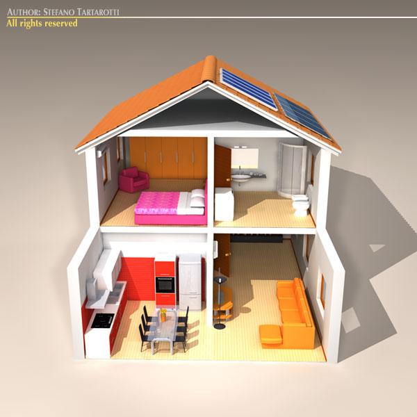 house cutaway two floor 3d model 3ds dxf c4d obj 116995