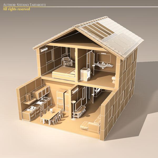 house cutaway two floor 3d model 3ds dxf c4d obj 116996