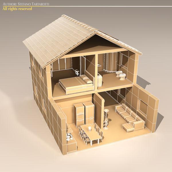house cutaway two floor 3d model 3ds dxf c4d obj 116997