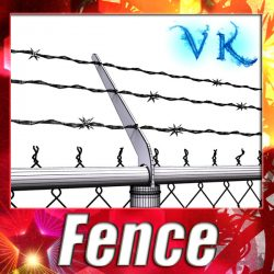 3D Model Chainlink fence Barbed wire High detail ( 113.71KB jpg by VKModels )