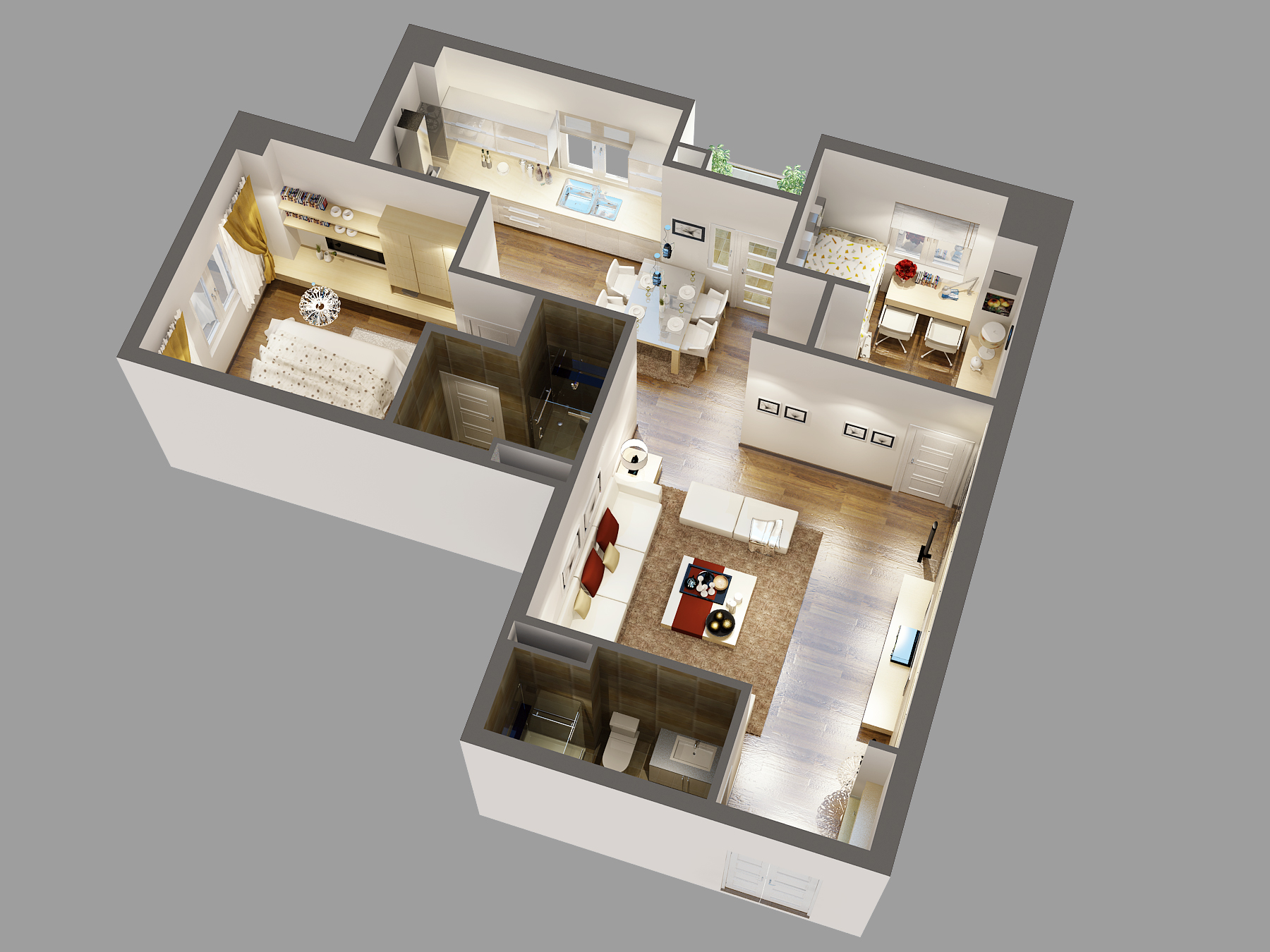 3D Model Detailed House Cutaway Buy