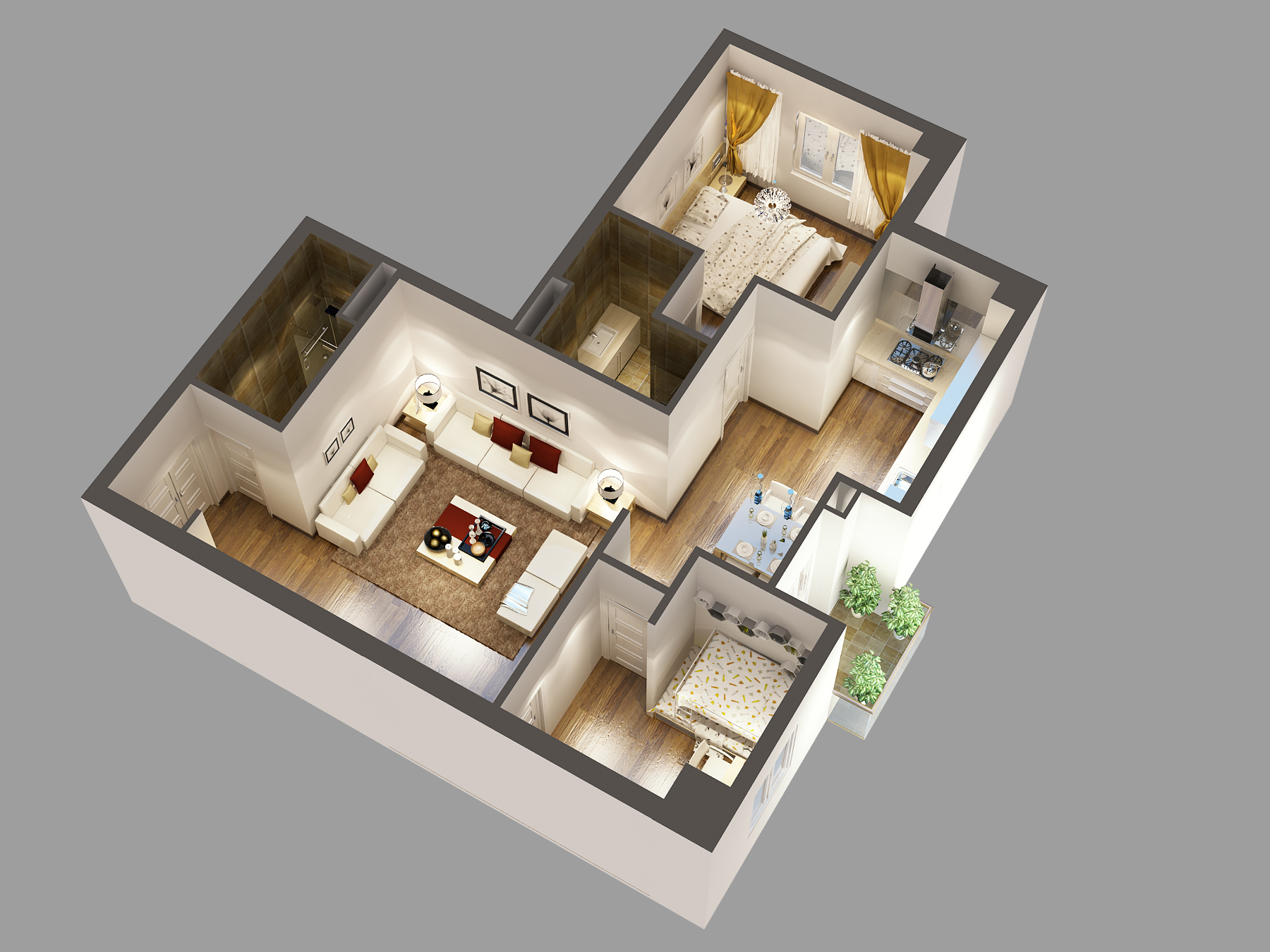 3d model detailed house cutaway 87086kb jpg by acdcz - House Model 3d