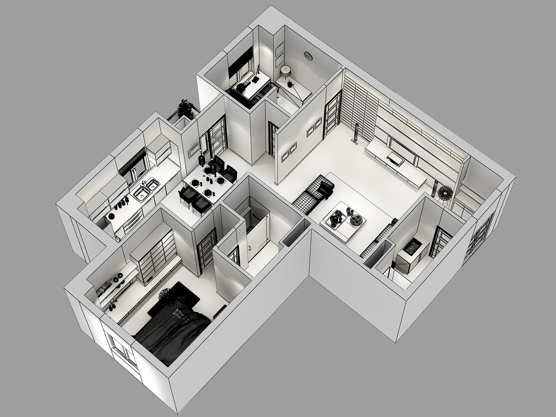 Cutaway Apartment Full Furnitures Modern Design: 3D Model Detailed House Cutaway 3D Model