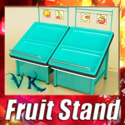 3D Model Fruits Stand Store Display Smoothable ( 143.49KB jpg by VKModels )