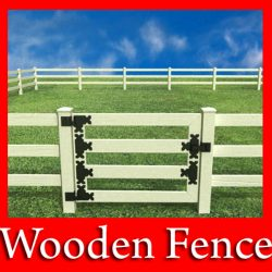 3D Model Wooden fence high detail ( 122KB jpg by VKModels )