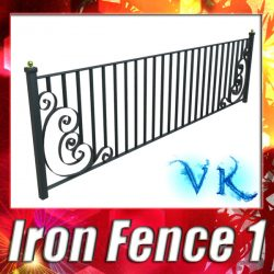 3D Model Wrought Iron Fence 01 High res ( 111.55KB jpg by VKModels )