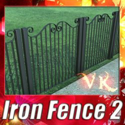 3D Model Wrought Iron Fence 02 ( 171.57KB jpg by VKModels )