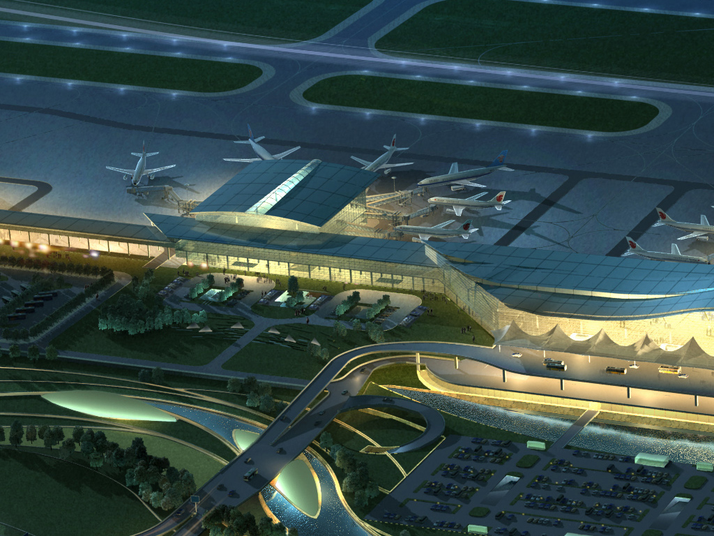 airport 10 night 3d model 3ds max psd 98313