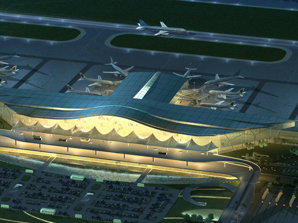airport 10 night 3d model 3ds max psd 98314