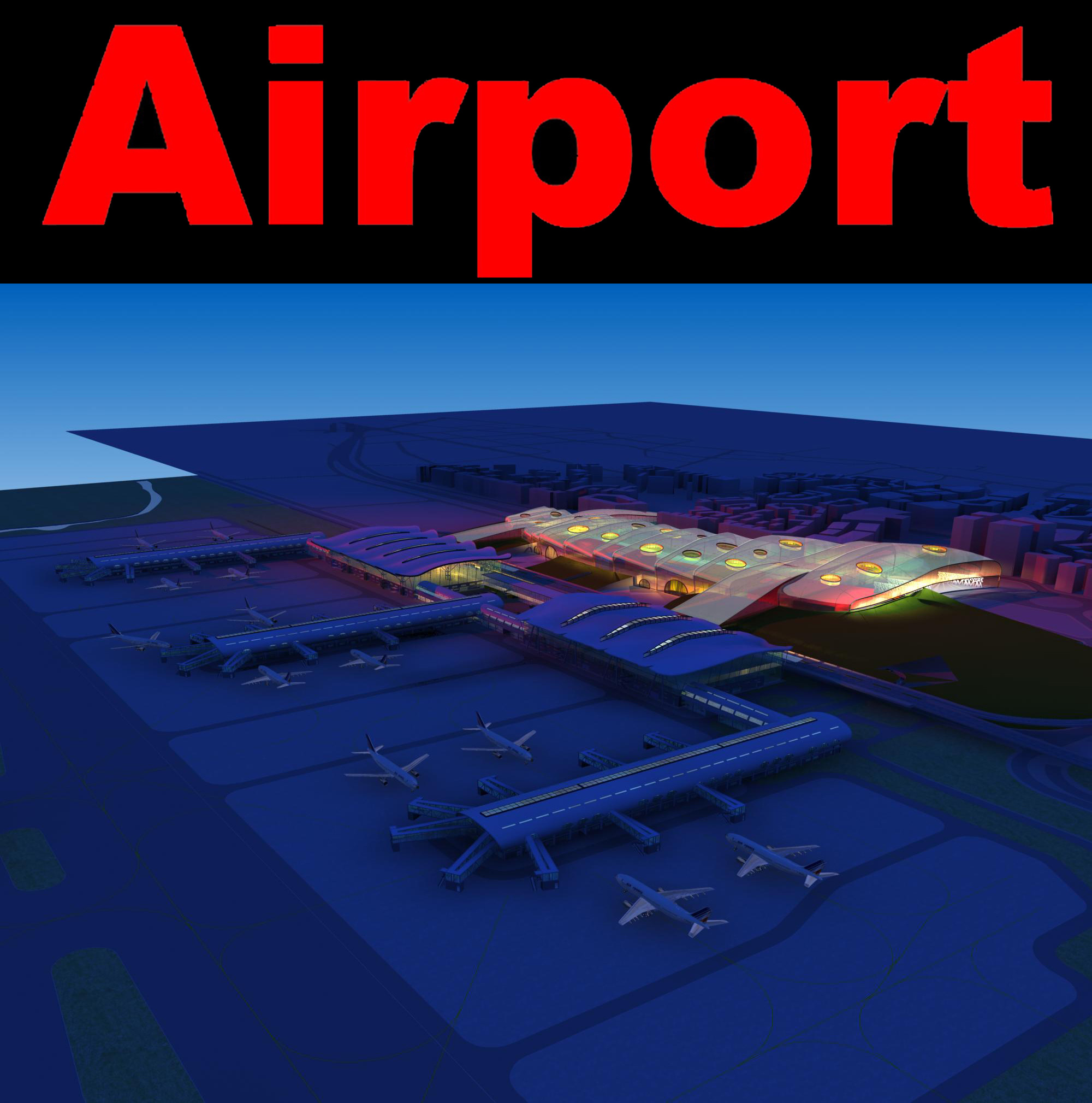 airport 11 night 3d model 3ds max 98308