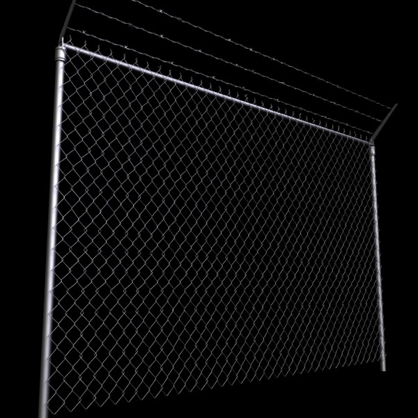chainlink fence barbed wire high detail 3d model 3ds max obj 129960