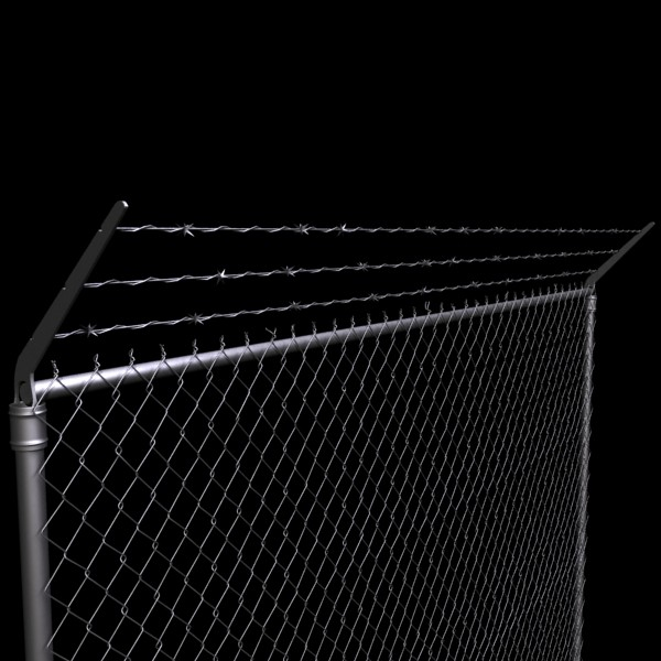 chainlink fence barbed wire high detail 3d model 3ds max obj 129961