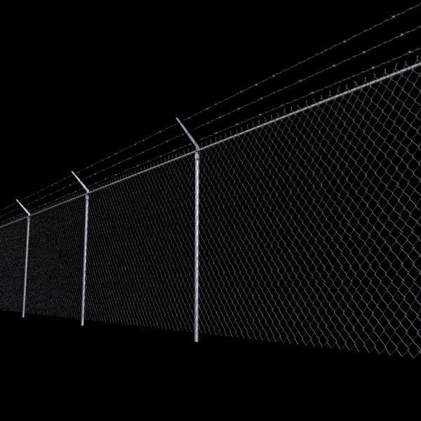 chainlink fence barbed wire high detail 3d model 3ds max obj 129964