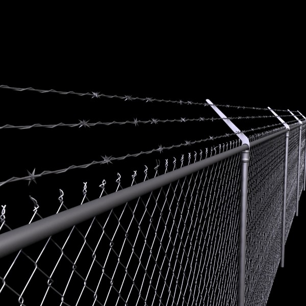 chainlink fence barbed wire high detail 3d model 3ds max obj 129965