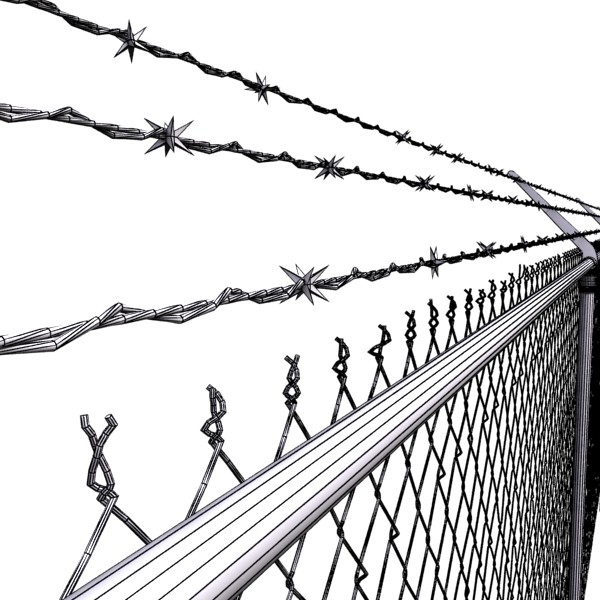 chainlink fence barbed wire high detail 3d model 3ds max obj 129966