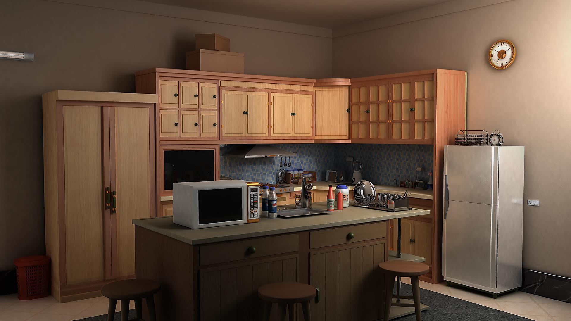 kuzhinë komode model 3d fbx max ma mb obj 128385