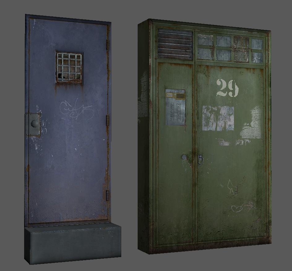 damaged metal doors 3d model max fbx obj 148118