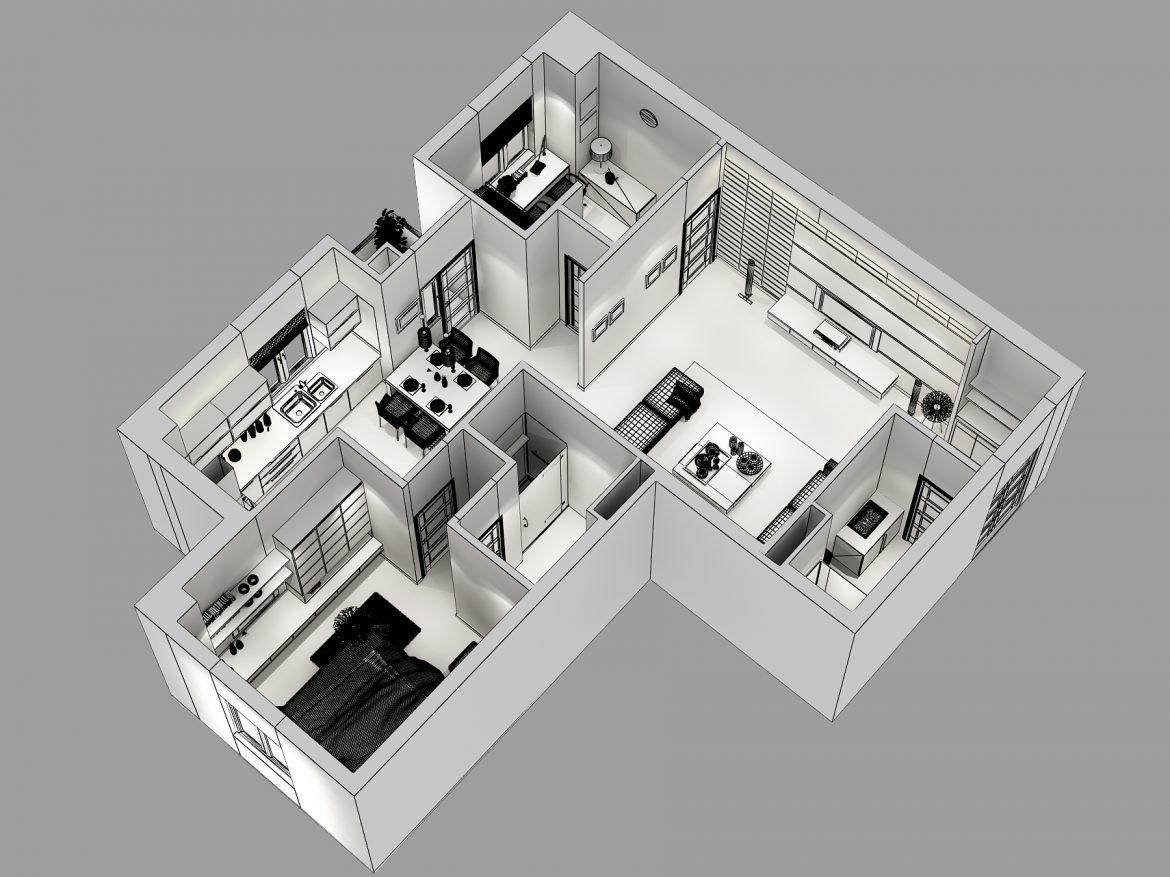 detailed house cutaway 3d model max 158980