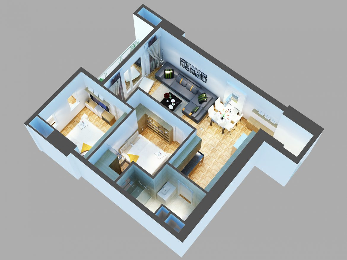 detailed living house cutaway 3d model max 159111
