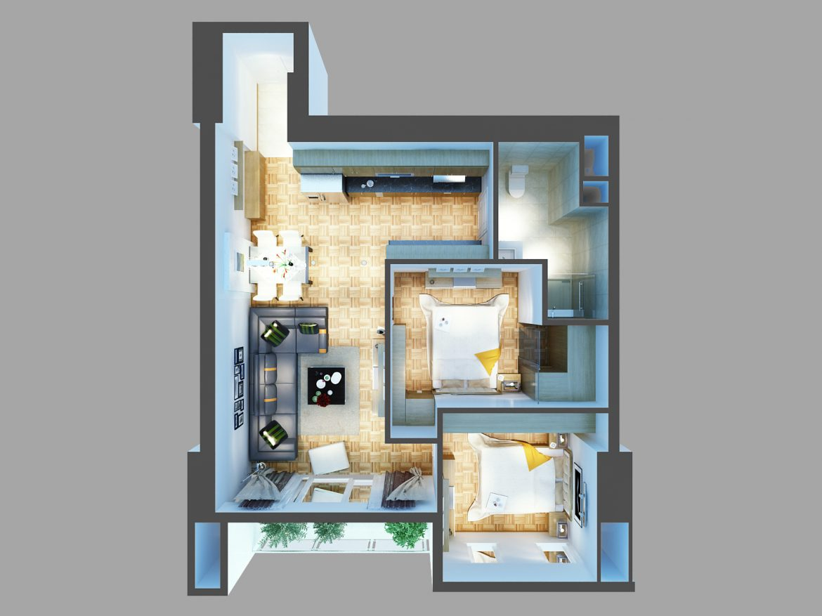 detailed living house cutaway 3d model max 159112